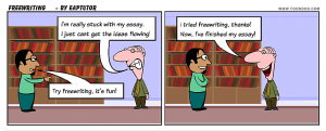 Cartoon of a person who is stuck with his writing. The other person recommends freewriting to help.